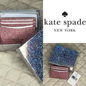 Kate Spade small slim card holder in Lola glitter